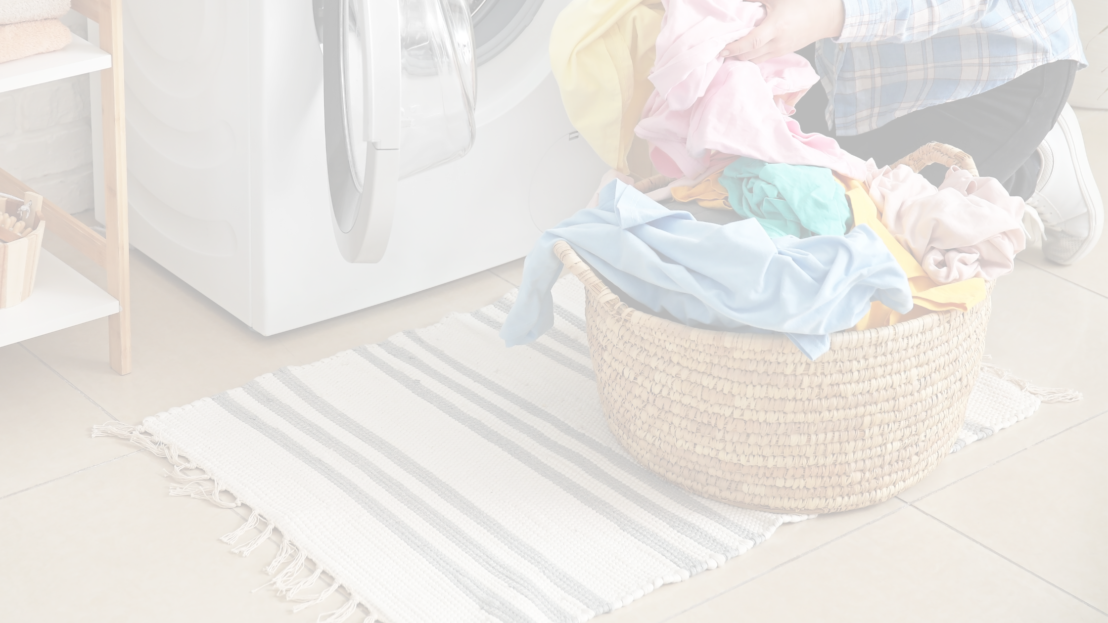 Woman in laundry washing clothes and rug